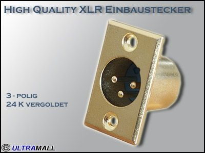 .High Quality XLR Einbaustecker 0772.01180, 24K vergoldet