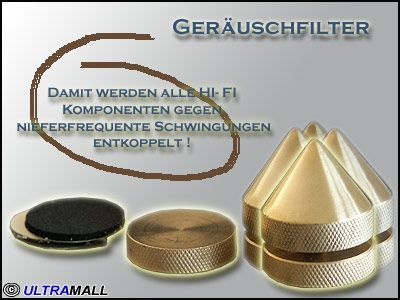 Spikes-Geräuschfilter Absorber poliertes Messing, 4er Set