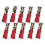 10x 2,8 mm Flachstecker 24k  für Kabel 0,5 - 1,5mm² 0772.01082, rot
