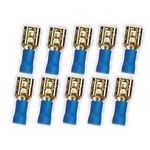 10x 4,8 mm Flachstecker 24k  für Kabel 1,5 - 2,5 mm² 0772.01068, blau