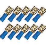 10x 6,3 mm Flachstecker 24k  für Kabel 1,5 - 2,5 mm² 0772.01066, blau