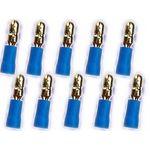 10x 4mm Rundstecker 24k  für Kabel 1.5- 2.5mm² 0772.01080 Farbe:blau